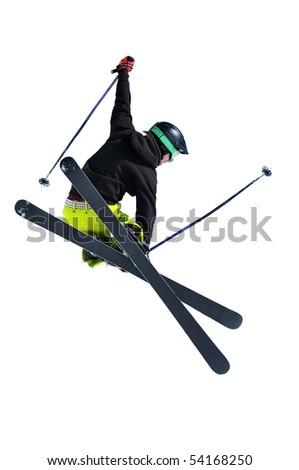 a freerider ski jumper with studded belt and gloves isolated on white