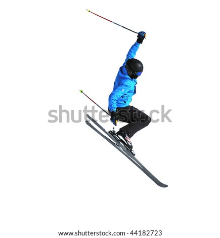 a freestyle skier performing a high jump isolated on white