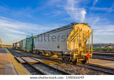 A Freight Train at Sunset
