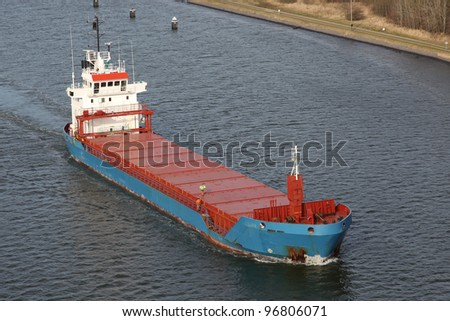 a freighter on Kiel Canal, Germany