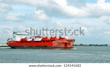 A Freighter Ship On The Mississippi River At New Orleans