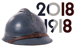 a french military helmet of the First World War isolated on white background