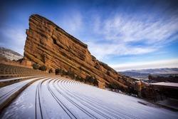 A fresh blanket of snow covers Red Rocks near Denver, Colorado