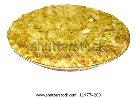 A fresh cooked home made Dutch Apple pie for Thanksgiving dessert isolated on white