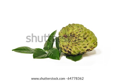 a fresh custard apple on the white background