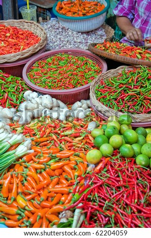 A fresh food market stall situated in the town of Hua Hin in Thailand.