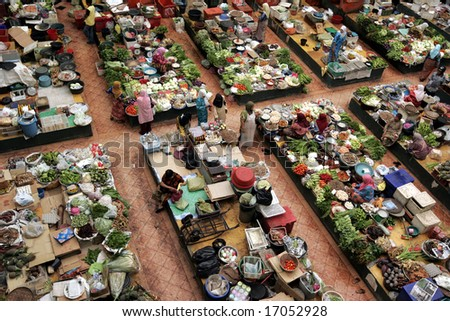 A fresh market from high view.