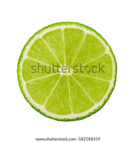 A fresh slice of lime. Circle. Fruits isolated on a white background. With clipping path. #582188359