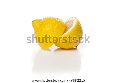 A fresh yellow lemon that is cut