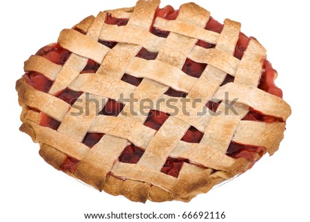 A freshly baked, homemade cherry pie