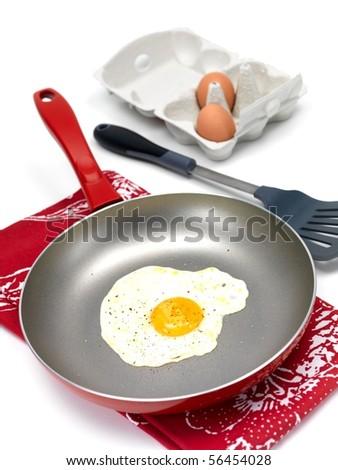 A freshly fried egg in a frying pan
