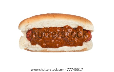 A freshly grilled chili dog isolated on white