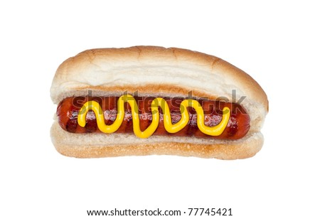 A freshly grilled hotdog on a bun with a stream of mustard isolated on white.