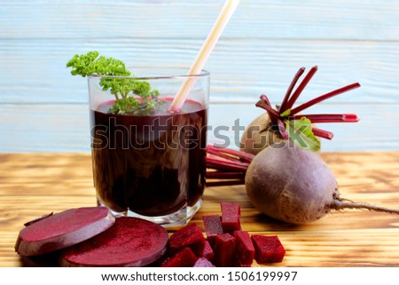 a freshly squeezed glass of healthy beetroot juice from a fresh crop #1506199997