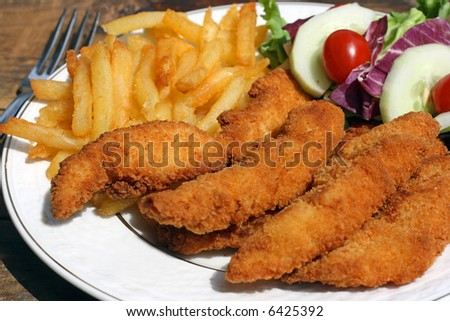A fried chicken finger dinner on plate - stock photo