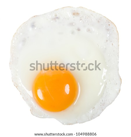 a fried egg isolated before white background