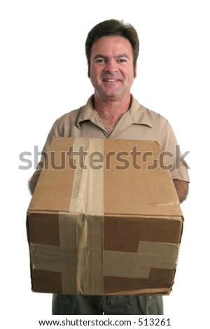 a friendly delivery man bringing a package - isolated