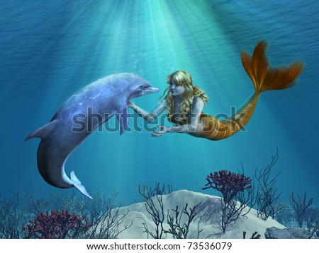 A friendly dolphin greets a mermaid undersea - 3D render with digital painting.