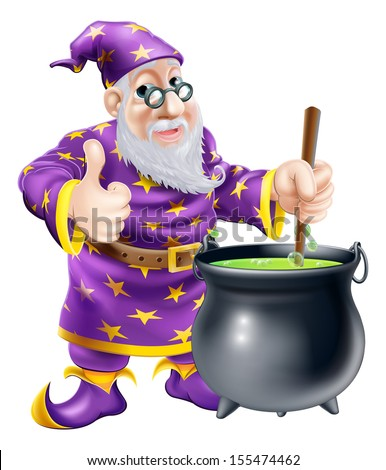 A friendly old wizard character stirring a big black cauldron