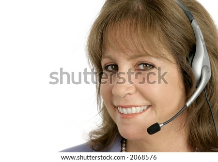 A friendly, pretty customer service representative is ready to help you.