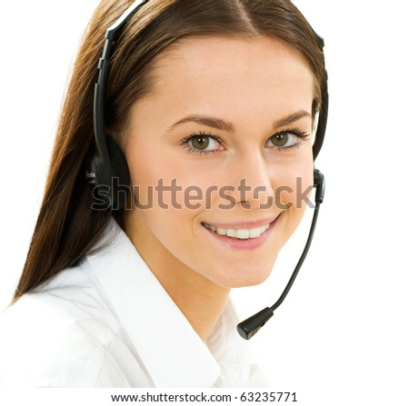 A friendly secretary/telephone operator on the white background