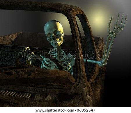 A friendly skeleton drives a old rusty junkyard car - 3d render with digital painting.