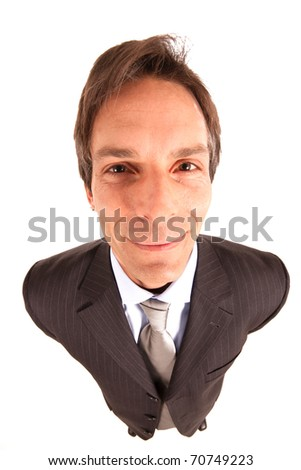 A friendly, smiling businessman. Isolated against white background. Shoot with a very wide lens.