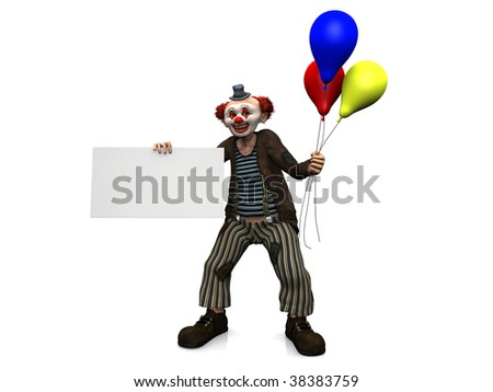 A friendly smiling clown holding a blank sign in one of his hands and three balloons  in his other hand. White background.