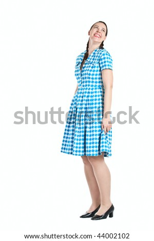 A friendly young woman casually laughing on white