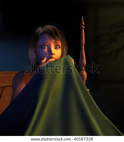 A frightened young girl in bed, hiding behind her blanket - 3D render.