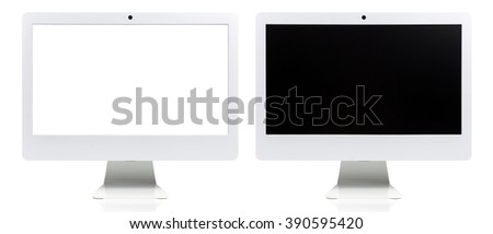 A front shot of a all in one monoblock personal computer. Modern and stylish. Not apple but looks close to iMac. With white screen