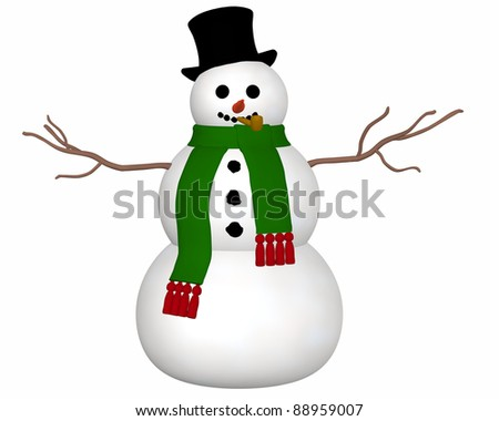 Snowman Top Hat A black top hat and green