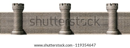 A front view of a gothic brick wall separated by evenly spaced turrets on an isolated background