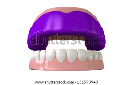 A front view of a regular blue sports gum guard fitted to a set of open false teeth on an isolated background