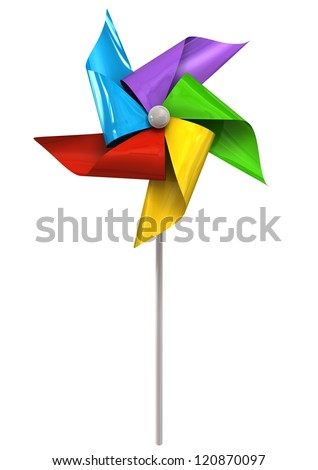 A front view of a regular toy pinwheel windmill with five differently colored vanes on a stick on an isolated background