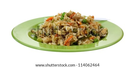 A front view of  stir fried chicken, vegetables and rice on a green plate.