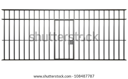 A front view of the bars of a jail cell with iron bars and a door on an isolated background