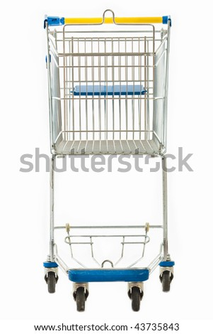 A frontal view of an empty metal shopping cart isolated on white.