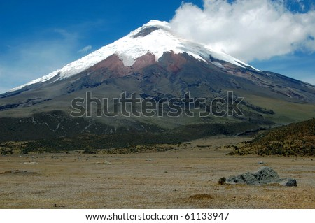 A frontal view of the majestic Cotopaxi (highest active volcano in the world), in the heart of the Andes, Ecuador, South America.