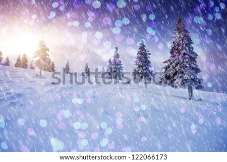 A frosty and sunny day is in mountains. Christmas abstract bokeh - stock photo