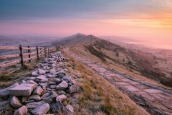 A frosty Autumn morning on Mam Tor, Derbyshire, Peak District