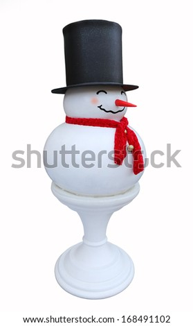 A frosty snowman decoration like a chess