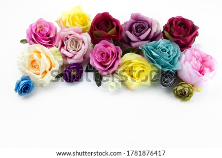 a frot view flower composition colorful and elegant on the white desk color plant flower Foto stock ©