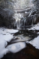A frothy swirl of snow and ice at Elakala Falls in Davis, West Virginia.