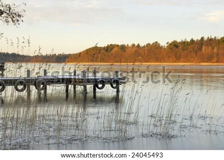 A frozen lake Malaren in Sweden.