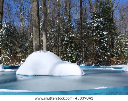 Swimming Snow Snow Covered Swimming Pool