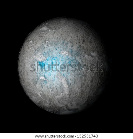 A frozen planet beyond our solar system. Isolated on black. Elements of this image furnished by NASA.