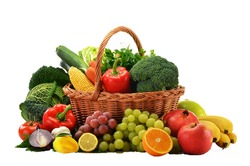 A fruits and vegetables basket in the white background