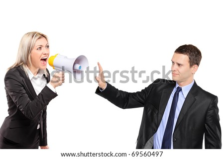 A frustated woman yelling via megaphone and man gesturing isolated on white background