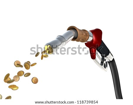 A fuel pump shoots fuel in the form of gold coins.